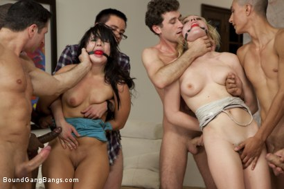 Photo number 6 from Two Girl Gang Bang  shot for Bound Gang Bangs on Kink.com. Featuring Lily LaBeau, Ashli  Orion, Mr. Pete, James Deen, Tee Reel, Rico Strong, Alex West, Dane Cross and John Strong in hardcore BDSM & Fetish porn.