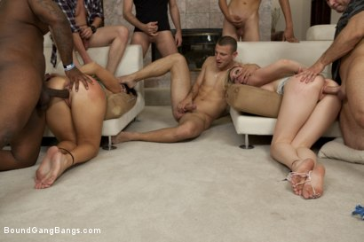 Photo number 5 from Two Girl Gang Bang  shot for Bound Gang Bangs on Kink.com. Featuring Lily LaBeau, Ashli  Orion, Mr. Pete, James Deen, Tee Reel, Rico Strong, Alex West, Dane Cross and John Strong in hardcore BDSM & Fetish porn.