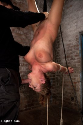 Photo number 1 from Bound in a reverse strappado, Skull fucked, nipple tormented<br>Made to cum while totally helpless. shot for Hogtied on Kink.com. Featuring Lizzy London in hardcore BDSM & Fetish porn.