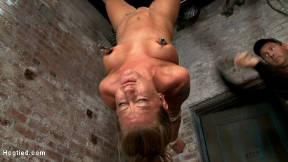 Photo number 9 from Bound in a reverse strappado, Skull fucked, nipple tormented<br>Made to cum while totally helpless. shot for Hogtied on Kink.com. Featuring Lizzy London in hardcore BDSM & Fetish porn.