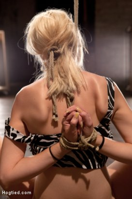 Photo number 7 from Hot Blonde Tied Tightly and Made to Cum shot for hogtied on Kink.com. Featuring Rylie Richman in hardcore BDSM & Fetish porn.