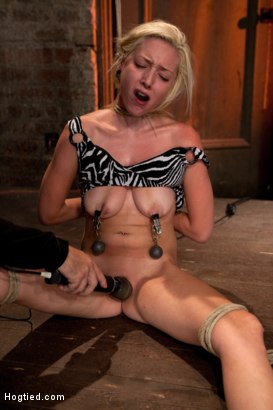 Photo number 12 from Hot Blonde Tied Tightly and Made to Cum shot for Hogtied on Kink.com. Featuring Rylie Richman in hardcore BDSM & Fetish porn.