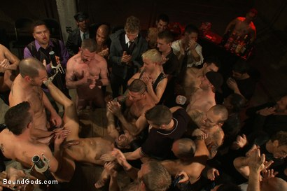 Photo number 13 from BONUS UPDATE FROM BOUND IN PUBLIC <br>Adam Knox gets caught in a cum fest shot for Bound Gods on Kink.com. Featuring Christian Wilde, Cole Streets and Adam Knox in hardcore BDSM & Fetish porn.