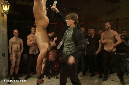 Photo number 7 from BONUS UPDATE FROM BOUND IN PUBLIC <br>Adam Knox gets caught in a cum fest shot for Bound Gods on Kink.com. Featuring Christian Wilde, Cole Streets and Adam Knox in hardcore BDSM & Fetish porn.