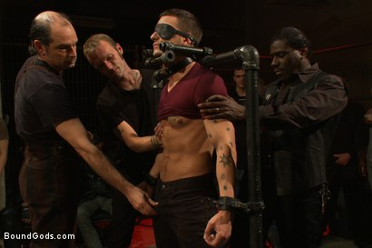 Photo number 1 from BONUS UPDATE FROM BOUND IN PUBLIC <br>Adam Knox gets caught in a cum fest shot for Bound Gods on Kink.com. Featuring Christian Wilde, Cole Streets and Adam Knox in hardcore BDSM & Fetish porn.