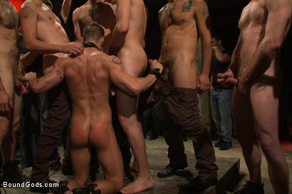 Photo number 9 from BONUS UPDATE FROM BOUND IN PUBLIC <br>Adam Knox gets caught in a cum fest shot for Bound Gods on Kink.com. Featuring Christian Wilde, Cole Streets and Adam Knox in hardcore BDSM & Fetish porn.