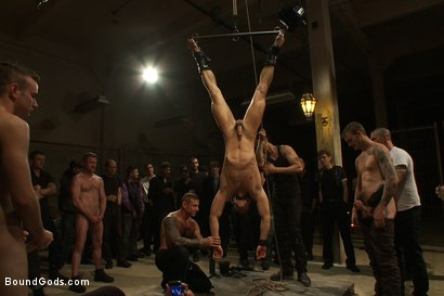 Photo number 10 from BONUS UPDATE FROM BOUND IN PUBLIC <br>Adam Knox gets caught in a cum fest shot for Bound Gods on Kink.com. Featuring Christian Wilde, Cole Streets and Adam Knox in hardcore BDSM & Fetish porn.