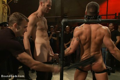 Photo number 3 from BONUS UPDATE FROM BOUND IN PUBLIC <br>Adam Knox gets caught in a cum fest shot for Bound Gods on Kink.com. Featuring Christian Wilde, Cole Streets and Adam Knox in hardcore BDSM & Fetish porn.