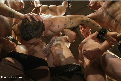 Photo number 6 from BONUS UPDATE FROM BOUND IN PUBLIC <br>Adam Knox gets caught in a cum fest shot for Bound Gods on Kink.com. Featuring Christian Wilde, Cole Streets and Adam Knox in hardcore BDSM & Fetish porn.