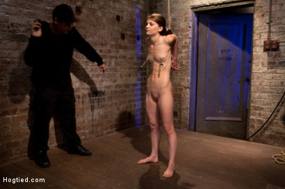 Photo number 6 from Tiny shaved cutie bound tightly, and made to cum while in tip-toe suspension shot for Hogtied on Kink.com. Featuring Isis Love and Sensi Pearl in hardcore BDSM & Fetish porn.