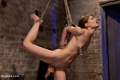 Photo number 7 from Tiny shaved cutie bound tightly, and made to cum while in tip-toe suspension shot for Hogtied on Kink.com. Featuring Isis Love and Sensi Pearl in hardcore BDSM & Fetish porn.