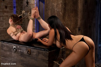 Photo number 9 from Extreme reverse Prayer Category 5 Hogtied<br>Tying done on screen. Former Disney star made to cum. shot for Hogtied on Kink.com. Featuring Isis Love and Sensi Pearl in hardcore BDSM & Fetish porn.