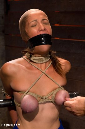 Photo number 7 from Audrey had her breast bound & huge mouth properly gagged.<br>Nipples clamped and made to cum, & cum! shot for Hogtied on Kink.com. Featuring Isis Love and Audrey Rose in hardcore BDSM & Fetish porn.