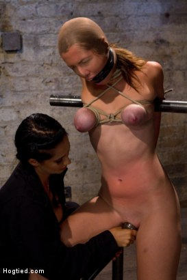 Photo number 12 from Audrey had her breast bound & huge mouth properly gagged.<br>Nipples clamped and made to cum, & cum! shot for Hogtied on Kink.com. Featuring Isis Love and Audrey Rose in hardcore BDSM & Fetish porn.