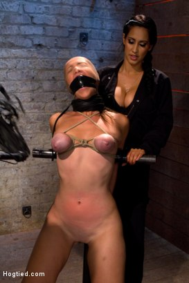 Photo number 10 from Audrey had her breast bound & huge mouth properly gagged.<br>Nipples clamped and made to cum, & cum! shot for Hogtied on Kink.com. Featuring Isis Love and Audrey Rose in hardcore BDSM & Fetish porn.