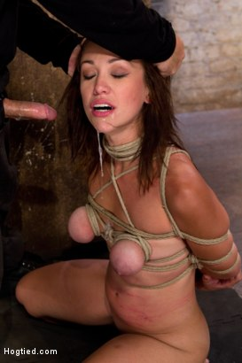 Photo number 12 from Part 3/4 of Augusts Live Show: Tutorial on how to tie a Japanese box tie w/Long brutal face fucking. shot for Hogtied on Kink.com. Featuring Isis Love and Audrey Rose in hardcore BDSM & Fetish porn.