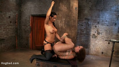 Photo number 8 from Audrey has suffered through 3 brutal scenes, now she gets brutally fucked by Isis while face fucked. shot for Hogtied on Kink.com. Featuring Isis Love and Audrey Rose in hardcore BDSM & Fetish porn.