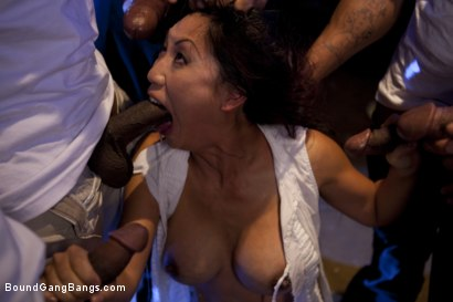 Photo number 5 from Beautiful Asian Lawyer Fantasizes About being Taken Down and Gangbanged in Alley by Five Black Men shot for Bound Gang Bangs on Kink.com. Featuring Tia Ling, Dirk Huge, Lucas Stone, Jack Napier, Tee Reel and Rico Strong in hardcore BDSM & Fetish porn.