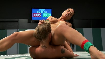 Photo number 15 from Blond athletic rookie vs Sexy Hawaiian veteran in a non-scripted wresting match. Brutal action. shot for Ultimate Surrender on Kink.com. Featuring Lizzy London and Mahina Zaltana in hardcore BDSM & Fetish porn.