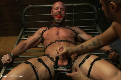 Photo number 12 from Muscle Stud and the Electric Ball Crusher shot for Bound Gods on Kink.com. Featuring CJ Madison and Mitch Vaughn in hardcore BDSM & Fetish porn.