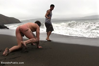 Photo number 2 from Sex on The Beach shot for Bound in Public on Kink.com. Featuring Mike Martin and Micah Andrews in hardcore BDSM & Fetish porn.