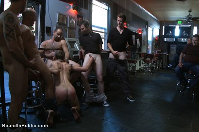 Photo number 3 from The Brooks - gets piss in the mouth and licks cum off the dirty floor. shot for Bound in Public on Kink.com. Featuring Girth Brooks and Cole Brooks in hardcore BDSM & Fetish porn.