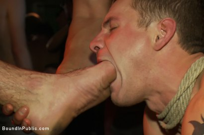 Photo number 11 from Trent Diesel gets a face full of ass while caught in a human centipede shot for Bound in Public on Kink.com. Featuring Trent Diesel and Mike Martin in hardcore BDSM & Fetish porn.