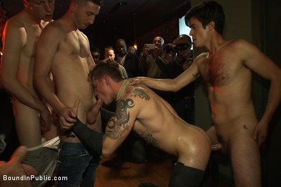 Photo number 2 from Trent Diesel gets a face full of ass while caught in a human centipede shot for Bound in Public on Kink.com. Featuring Trent Diesel and Mike Martin in hardcore BDSM & Fetish porn.