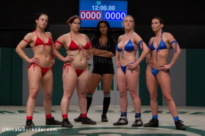 Photo number 2 from BATTLE OF THE CHAMPIONS! TAG TEAM ACTION:<br>Last seasons top 4 battle in brutal Tag Team Action! shot for Ultimate Surrender on Kink.com. Featuring Isis Love, Ariel X, Dee Williams, Cheyenne Jewel and Bella Rossi in hardcore BDSM & Fetish porn.