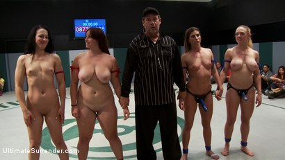 Photo number 2 from BATTLE OF THE CHAMPIONS!: 5 girl brutal orgy on the mat. The 2 losers get fucked by the winners  shot for Ultimate Surrender on Kink.com. Featuring Isis Love, Ariel X, Dee Williams, Cheyenne Jewel and Bella Rossi in hardcore BDSM & Fetish porn.