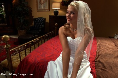 Photo number 1 from The Honeymoon Suite shot for Bound Gang Bangs on Kink.com. Featuring James Deen, Katie Summers, John Strong, Mickey Mod, Christian Wilde, Bobby Bends and Blake in hardcore BDSM & Fetish porn.