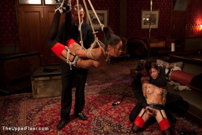Photo number 11 from Bound slave girls deep throating cock gags shot for The Upper Floor on Kink.com. Featuring Krysta Kaos and Skin Diamond in hardcore BDSM & Fetish porn.