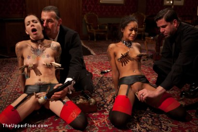 Photo number 4 from Bound slave girls deep throating cock gags shot for The Upper Floor on Kink.com. Featuring Krysta Kaos and Skin Diamond in hardcore BDSM & Fetish porn.