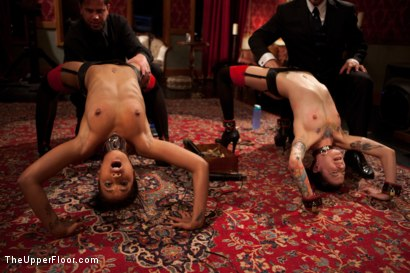 Photo number 5 from Bound slave girls deep throating cock gags shot for The Upper Floor on Kink.com. Featuring Krysta Kaos and Skin Diamond in hardcore BDSM & Fetish porn.