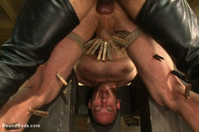 Photo number 12 from 18 year old slave boy endures the most intense ball stretching on BG. shot for Bound Gods on Kink.com. Featuring Master Avery and     Cody Allen in hardcore BDSM & Fetish porn.