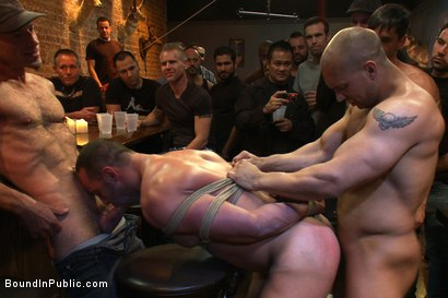 Photo number 8 from Italian bodybuilder is used and humiliated at a public bar.  shot for Bound in Public on Kink.com. Featuring John Magnum and Fabio Stallone in hardcore BDSM & Fetish porn.