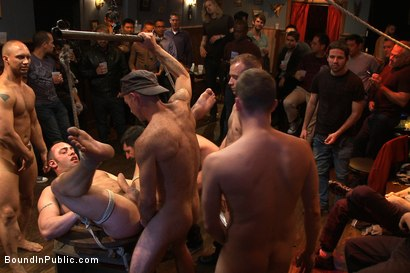 Photo number 9 from Italian bodybuilder is used and humiliated at a public bar.  shot for Bound in Public on Kink.com. Featuring John Magnum and Fabio Stallone in hardcore BDSM & Fetish porn.