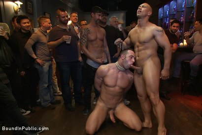 Photo number 13 from Italian bodybuilder is used and humiliated at a public bar.  shot for Bound in Public on Kink.com. Featuring John Magnum and Fabio Stallone in hardcore BDSM & Fetish porn.