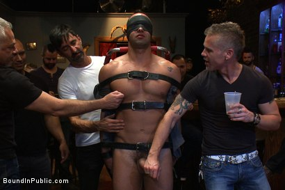 Photo number 2 from Italian bodybuilder is used and humiliated at a public bar.  shot for Bound in Public on Kink.com. Featuring John Magnum and Fabio Stallone in hardcore BDSM & Fetish porn.