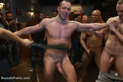 Photo number 12 from Italian bodybuilder is used and humiliated at a public bar.  shot for Bound in Public on Kink.com. Featuring John Magnum and Fabio Stallone in hardcore BDSM & Fetish porn.