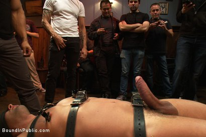 Photo number 4 from Italian bodybuilder is used and humiliated at a public bar.  shot for Bound in Public on Kink.com. Featuring John Magnum and Fabio Stallone in hardcore BDSM & Fetish porn.