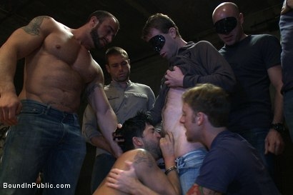 Photo number 5 from Dominic Pacifico gang fucked & pissed on by strange men shot for Bound in Public on Kink.com. Featuring Spencer Reed and Dominic Pacifico in hardcore BDSM & Fetish porn.