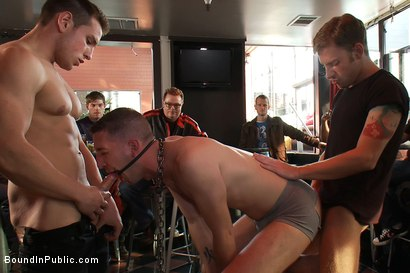 Photo number 8 from Muscle stud uses and abuses his boy in front of a horny lunch crowd. shot for Bound in Public on Kink.com. Featuring Dylan Roberts and Tony Hunter in hardcore BDSM & Fetish porn.