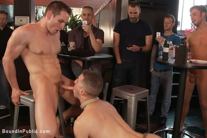 Photo number 11 from Muscle stud uses and abuses his boy in front of a horny lunch crowd. shot for Bound in Public on Kink.com. Featuring Dylan Roberts and Tony Hunter in hardcore BDSM & Fetish porn.