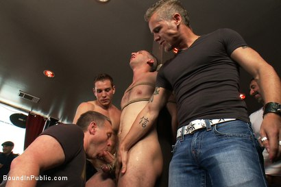 Photo number 4 from Muscle stud uses and abuses his boy in front of a horny lunch crowd. shot for Bound in Public on Kink.com. Featuring Dylan Roberts and Tony Hunter in hardcore BDSM & Fetish porn.