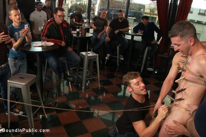 Photo number 6 from Muscle stud uses and abuses his boy in front of a horny lunch crowd. shot for Bound in Public on Kink.com. Featuring Dylan Roberts and Tony Hunter in hardcore BDSM & Fetish porn.