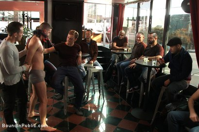 Photo number 1 from Muscle stud uses and abuses his boy in front of a horny lunch crowd. shot for Bound in Public on Kink.com. Featuring Dylan Roberts and Tony Hunter in hardcore BDSM & Fetish porn.