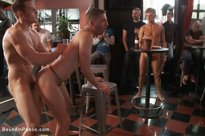 Photo number 13 from Muscle stud uses and abuses his boy in front of a horny lunch crowd. shot for Bound in Public on Kink.com. Featuring Dylan Roberts and Tony Hunter in hardcore BDSM & Fetish porn.