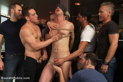 Photo number 5 from Muscle stud uses and abuses his boy in front of a horny lunch crowd. shot for Bound in Public on Kink.com. Featuring Dylan Roberts and Tony Hunter in hardcore BDSM & Fetish porn.