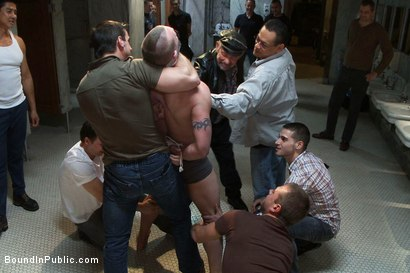 Photo number 1 from The wrestler gets gang banged by a horny crowd in a public restroom for losing his match.      shot for Bound in Public on Kink.com. Featuring Phenix Saint and Kieron Ryan in hardcore BDSM & Fetish porn.
